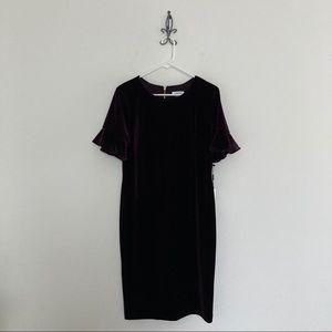Calvin Klein Short Sleeve Velour Dress Size 14